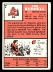 1966 Topps #51   Ode Burrell Back Thumbnail
