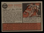 1962 Topps #194 A  Dean Chance Back Thumbnail