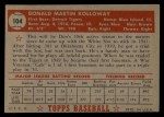 1952 Topps #104   Don Kolloway Back Thumbnail