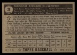1952 Topps #29 BLK  Ted Kluszewski Back Thumbnail