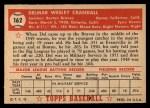 1952 Topps #162   Del Crandall Back Thumbnail