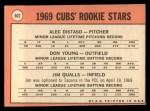 1969 Topps #602 COR Cubs Rookies  -  Alec Distaso / Don Young / Jim Qualls Back Thumbnail