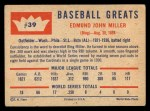 1960 Fleer #39   Bing Miller Back Thumbnail