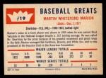 1960 Fleer #19   Marty Marion Back Thumbnail