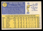 1970 Topps #111   Mike Hegan Back Thumbnail