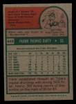 1975 Topps Mini #448   Frank Duffy Back Thumbnail