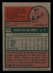 1975 Topps Mini #155  Jim Bibby  Back Thumbnail