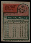 1975 Topps Mini #100   Willie Stargell Back Thumbnail