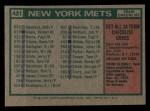 1975 Topps Mini #421  Mets Team Checklist  -  Yogi Berra Back Thumbnail
