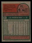1975 Topps Mini #25  Lee May  Back Thumbnail