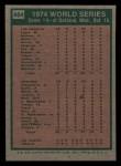 1975 Topps Mini #464  1974 World Series - Game #4  -  Ken Holtzman / Steve Yeager Back Thumbnail