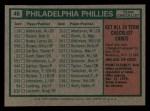 1975 Topps Mini #46  Phillies Team Checklist  -  Danny Ozark Back Thumbnail