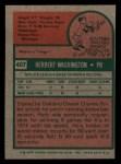 1975 Topps Mini #407   Herb Washington Back Thumbnail