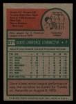 1975 Topps Mini #571   Dave Lemanczyk Back Thumbnail