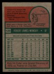 1975 Topps Mini #129  Rick Monday  Back Thumbnail