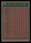 1975 Topps Mini #461  1974 World Series - Game #1  -  Reggie Jackson Back Thumbnail