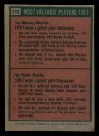 1975 Topps #195   -  Mickey Mantle / Hank Aaron 1957 MVPs Back Thumbnail