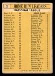 1963 Topps #3  1962 NL Home Run Leaders  -  Hank Aaron / Willie Mays / Frank Robinson / Ernie Banks / Orlando Cepeda Back Thumbnail