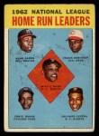 1963 Topps #3  1962 NL Home Run Leaders  -  Hank Aaron / Willie Mays / Frank Robinson / Ernie Banks / Orlando Cepeda Front Thumbnail