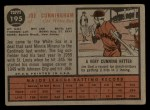 1962 Topps #195 GRN  Joe Cunningham Back Thumbnail