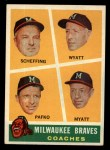 1960 Topps #464  Braves Coaches  -  Bob Scheffing / Whitlow Wyatt / Andy Pafko / George Myatt Front Thumbnail