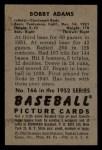 1952 Bowman #166   Bobby Adams Back Thumbnail