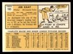 1963 Topps #165   Jim Kaat Back Thumbnail