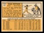 1963 Topps #327  Paul Foytack  Back Thumbnail