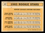 1963 Topps #407   Rookie Stars    -  Frank Kostro / Chico Ruiz / Larry Elliot / Dick Simpson Back Thumbnail