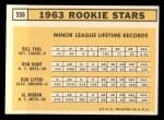 1963 Topps #558   Rookie Stars    -  Ron Hunt / Bill Faul / Al Moran / Bob Lipski Back Thumbnail