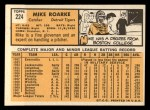 1963 Topps #224 COR Mike Roarke  Back Thumbnail