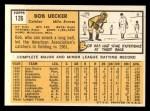 1963 Topps #126   Bob Uecker Back Thumbnail