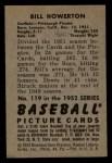 1952 #119  Bill Howerton  Back Thumbnail