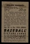 1952 #97  Willard Marshall  Back Thumbnail