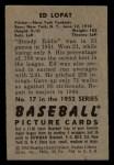 1952 Bowman #17   Eddie Lopat Back Thumbnail