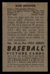 1952 Bowman #10  Bob Hooper  Back Thumbnail