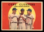 1959 Topps #147  Cubs Clubbers  -  Dale Long / Ernie Banks / Walt Moryn Front Thumbnail