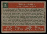 1959 Topps #147  Cubs Clubbers  -  Dale Long / Ernie Banks / Walt Moryn Back Thumbnail