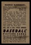 1952 Bowman #25   Mickey McDermott Back Thumbnail