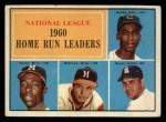 1961 Topps #43  1960 NL Home Run Leaders  -  Hank Aaron / Ernie Banks / Ken Boyer / Eddie Mathews Front Thumbnail