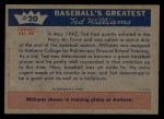 1959 Fleer #20   -  Ted Williams  On To Naval Training Back Thumbnail