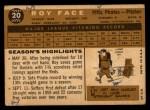 1960 Topps #20   Roy Face Back Thumbnail