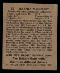 1948 Bowman #25  Barney McCoskey  Back Thumbnail