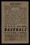 1952 Bowman #94   Luke Sewell Back Thumbnail