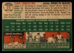 1954 Topps #14   Preacher Roe Back Thumbnail