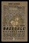 1952 Bowman #7   Mike Garcia Back Thumbnail