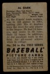 1952 Bowman #34  Al Dark  Back Thumbnail
