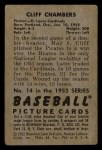 1952 Bowman #14  Cliff Chambers  Back Thumbnail