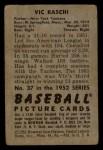 1952 Bowman #37  Vic Raschi  Back Thumbnail