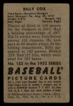1952 Bowman #152   Billy Cox Back Thumbnail